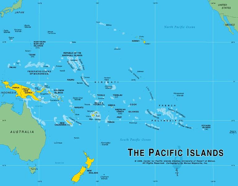 800 miles NE of Tahiti.