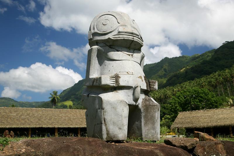 """Stone tiki in Typee (""""Taipevai"""") Valley."""