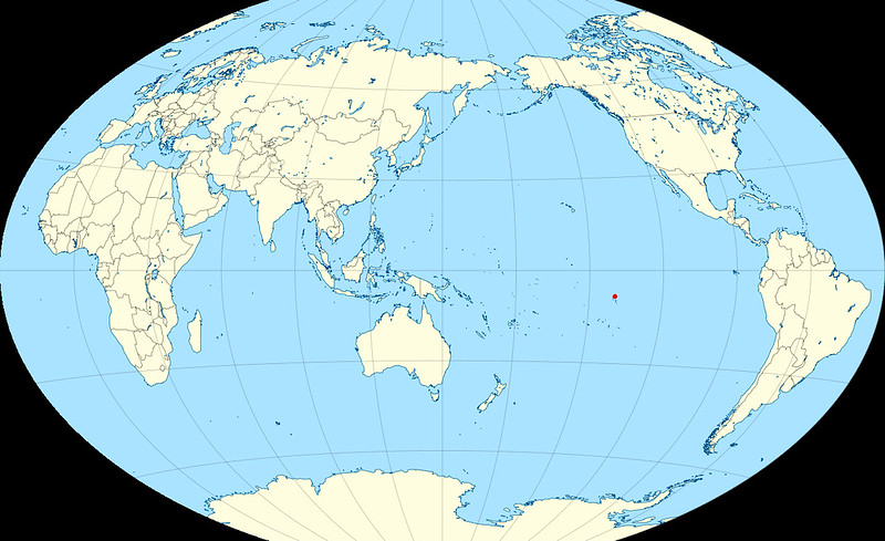 Nuku Hiva is in the middle of the Pacific Ocean, 2000 miles SE of Hawaii.