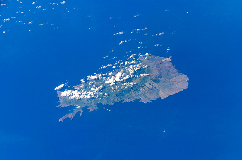 Satellite photo, upside down, from the north.