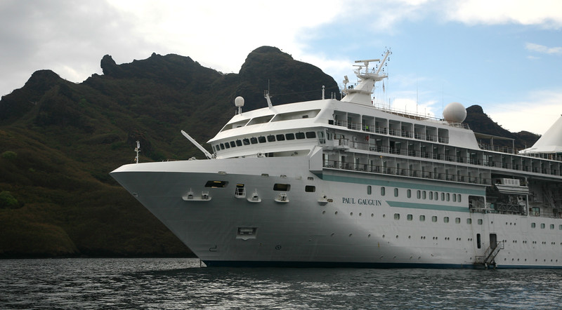 "Cruise ship ""Paul Gauguin"" in Taiohae Bay."