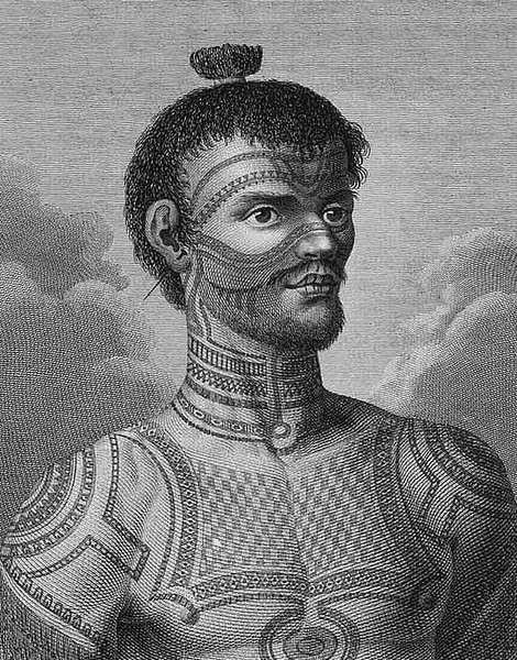 Marquesan warrior from Cook's second voyage (1774).