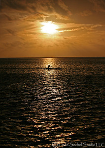 Outrigger Canoe At Sunset - Moorea, French Polynesia
