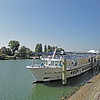 Our ship: the River Royale docked in the Saone river at Chalon in Burgundy. Beautiful day for an afternoon's walk in this pretty city.<br /> Destination Arles in Provence in one week.