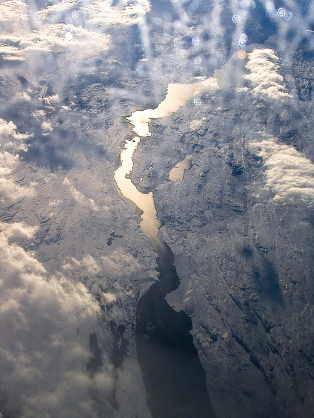 A river cutting through the ice