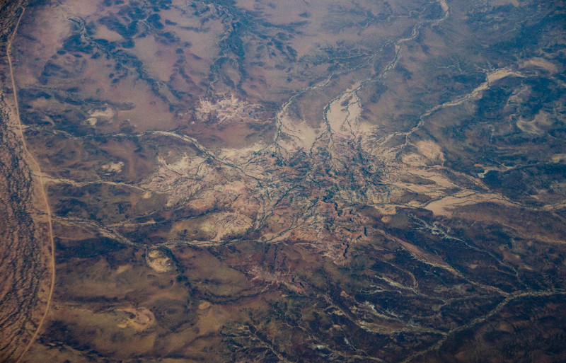 Australia from an aeroplane <br /> Central Australia viewed from the aeroplane on the flight into Brisbane