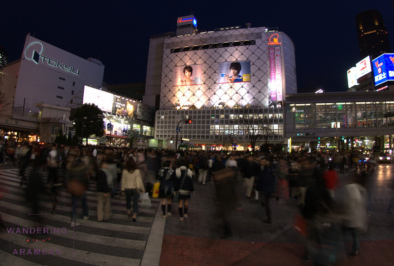 The famous crowded intersection in Shibuya