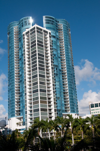 • View from the SE 3rd Ave Causeway Bridge of a High Rise Condo<br /> • Pre HDR