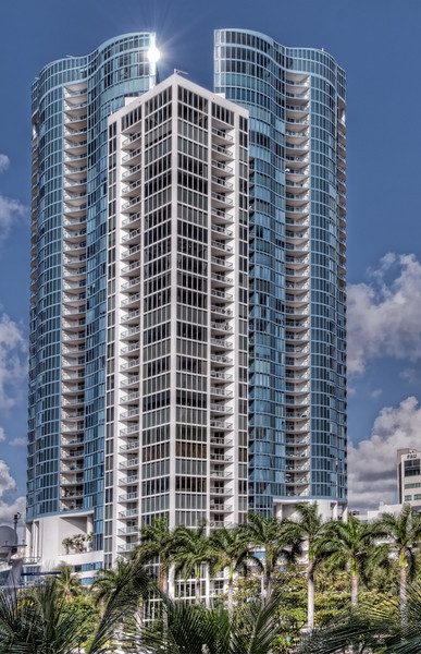 • View from the SE 3rd Ave Causeway Bridge of a High Rise Condo<br /> • Post HDR