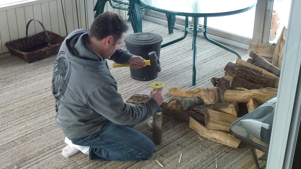 Doug preparing the firewood.