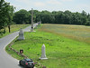 Battle monuments seen from an observation tower north of the town of Gettysburg.