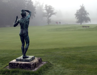 France -- Les Bordes statue by putting green