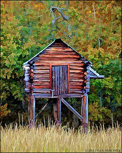 """FOOD CACHE 3"",photo converted to painting,Glenora Guest Ranch,B.C.,Canada."