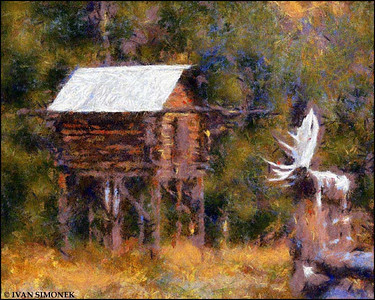 """FOOD CACHE 2"",photo converted to Benson painting,Glenora Guest Ranch,B.C.,Canada."
