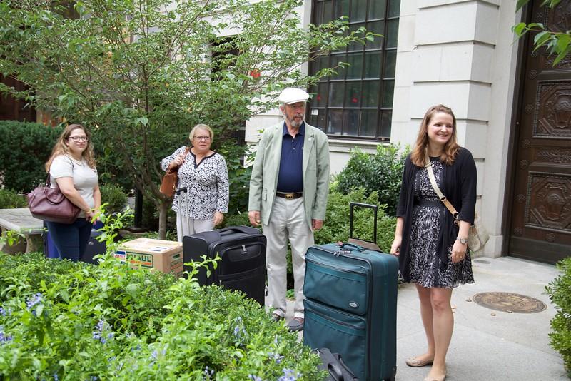 Boston: Outside NEHGS: Gabby, Brenda Williams, Steve Solomon and Ginevra Morse