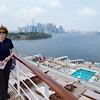 Brooklyn: Deck 8 astern: Toward south Manhattan with Kate