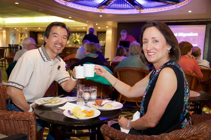 Winter Garden: John and Nancy Nakamura having breakfast before lectures