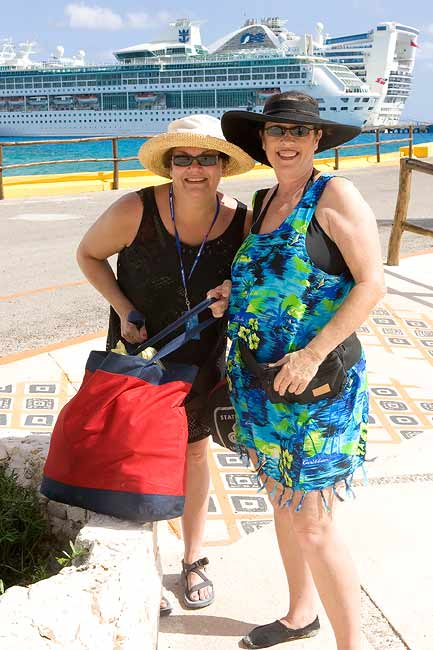 """KIM AND SHERRY WITH A FULL BAG GOING BACK TO THE GRAND PRINCESS AT COSTA MAYA"""
