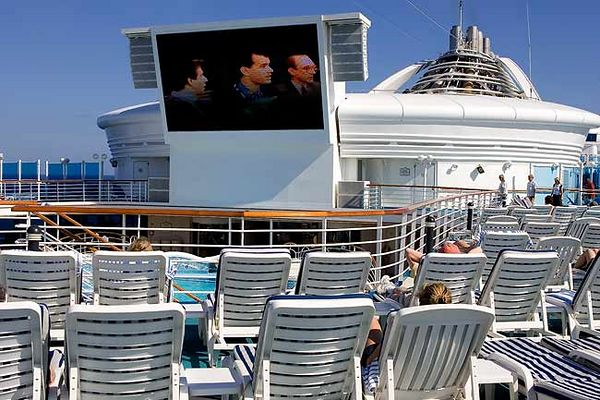 """VIEW OF MOVIE SCREEN FROM THE SUN DECK"""