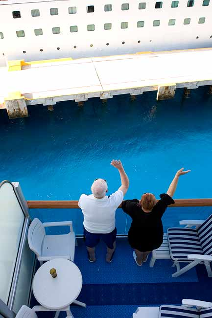 """NEIGHBORS BELOW ON DOLPHIN DECK WAVING FAREWELL TO THE CORAL PRINCESS IN COZUMEL"""