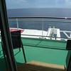 Another view of the accessible balcony cabin overlooking the lifeboats below.