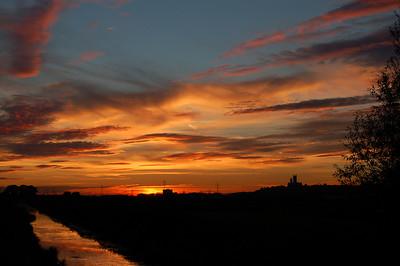 Lincoln sunset from near Washingborough