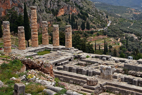 #679 Temple of Apollo in Delphi<br /> The temple of Apollo built in the 4th century BC. According to Homer Apollo himself founded the Oracle of Delphi. Delphi was the center of the Ancient World. Kings and Generals came to Delphi to seek guidence from Apollo, through the Oracle of Delphi.