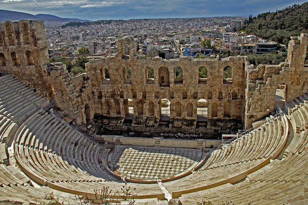 #745 Theater of Herod Atticus<br /> Theater of Herod built in 161 AD by a rich Roman in memory of his wife. This was built on the steep hillside of the Acropolis with a three story stone front and a wooden roof. It would seat 5,000 people