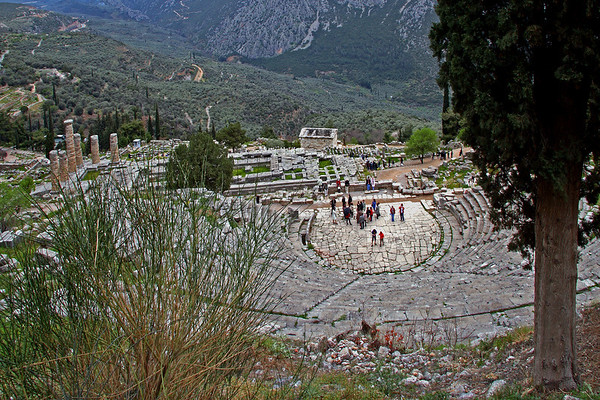 #693 Theater at Delphi<br /> This 4th Century BC theater, just above the Temple of Apollo, has 35 rows and will seat 5,000 people. The Theater in Delphi is one of the best preserved theaters in Greece.