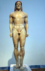 Athens -- Bronze funerary kouros known as Croesus, National Archaeological Museum