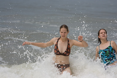 Abby and Gennie surfing in the Atlantic.