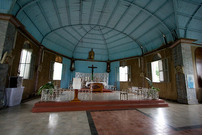 The inside of St. Anne's Mission, a metal church built by Gustave Eiffel and shipped from France to Gabon in sections.