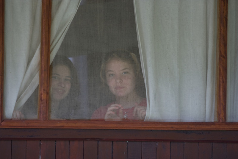 Molly and Sarah in their cabin at Evengue.