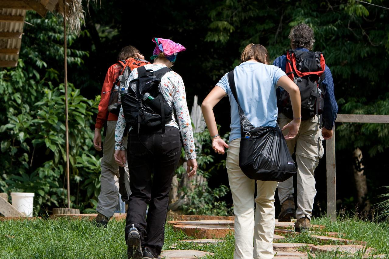 Bill, Jonie, Gennie and Theo heading off for a forest walk.