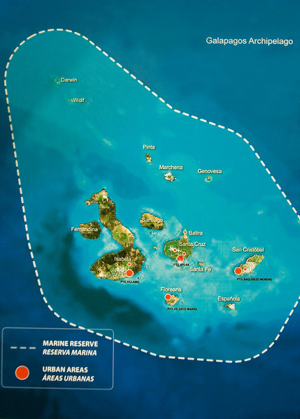 02. The Galápagos Islands---the Equator passes through the nose of the long, sea-horse-looking island.