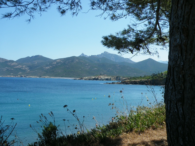 A view across the bay to the Corsican mountains