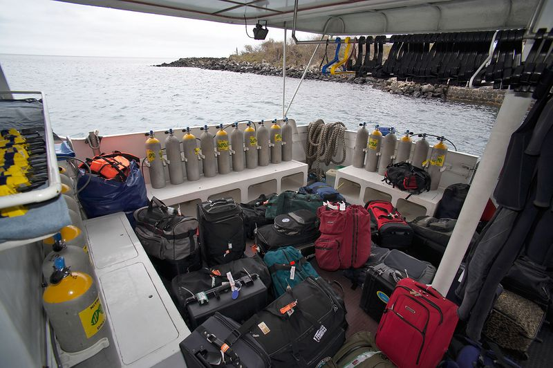Our group's luggage sits on the dive deck (Galapagos - Deep Blue)