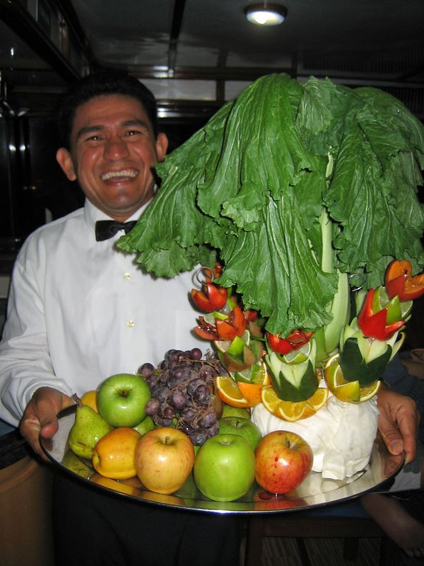 Every day, the Deep Blue's chef prepared wonderful art with food (Galapagos - Deep Blue)