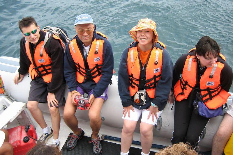 Emile, Manny, Tamaki and Heather on a panga (Galapagos - North Seymour)