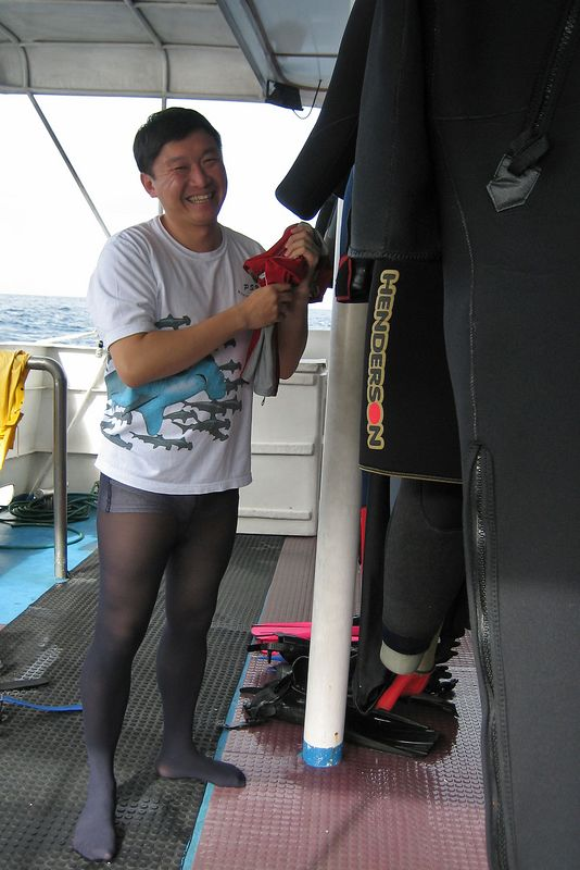 Paul likes to wear tights on the dive deck (Galapagos - Deep Blue)