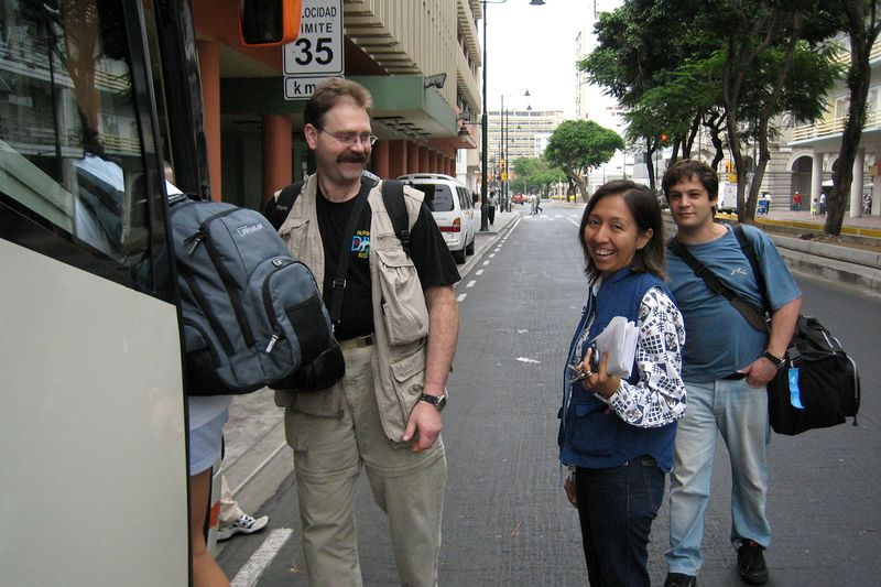 Jan, Alicia, and Alexis. We're boarding the bus to the airport. (Galapagos - Guayaquil)