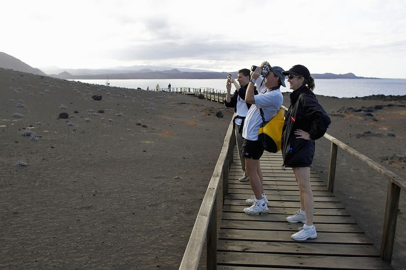 Carol, Doug,and Emile, hiking up Bartolome (Galapagos - Bartolome)
