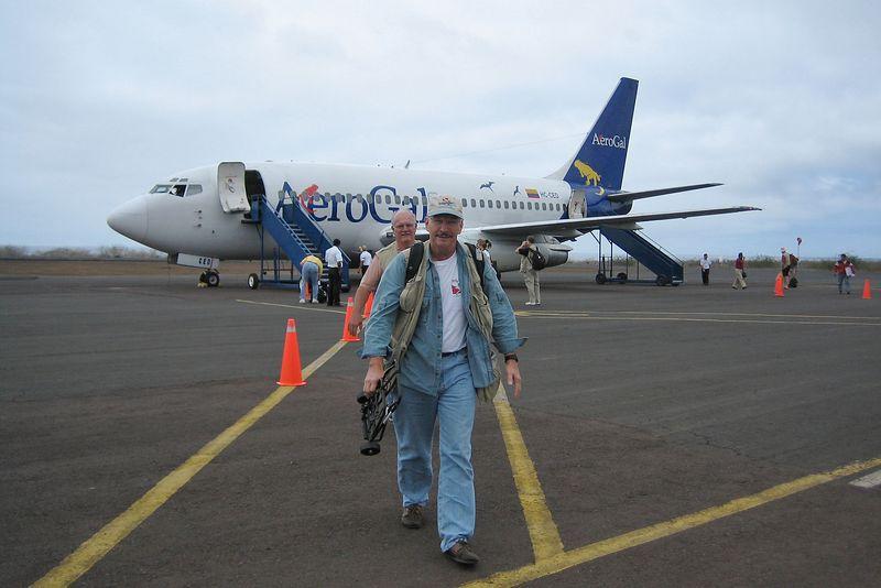 John Boll deplanes (Galapagos - San Cristobal)