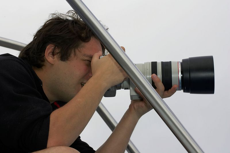 Alexis Tabah with his Digital Rebel and 100-400/4.5-5.6L lens (Galapagos - Darwin)