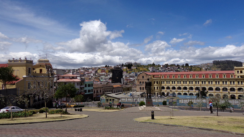 Looking into the old city of Quito from the Basilica.