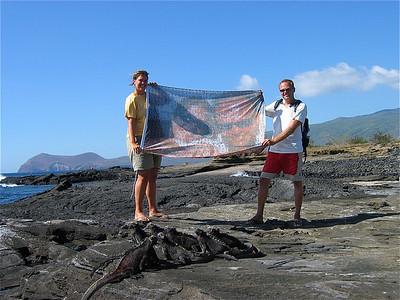 Teamfoto op Española. Galapagos Eilanden.