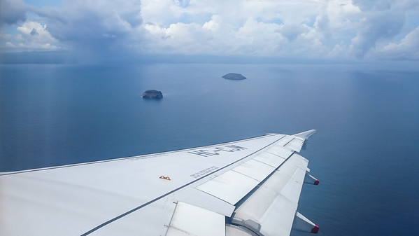 Flying over the Galapagos.