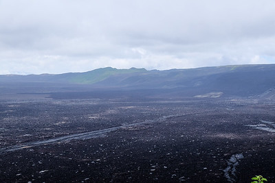 "You can see the ""black""  lava flow from the latest eruption (2005)."