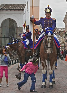 The Loyalty Day Parade is held every Monday at the Capital Building in old Quito.  The soldiers are dressed in uniforms replicating those used by Napoleon's Army
