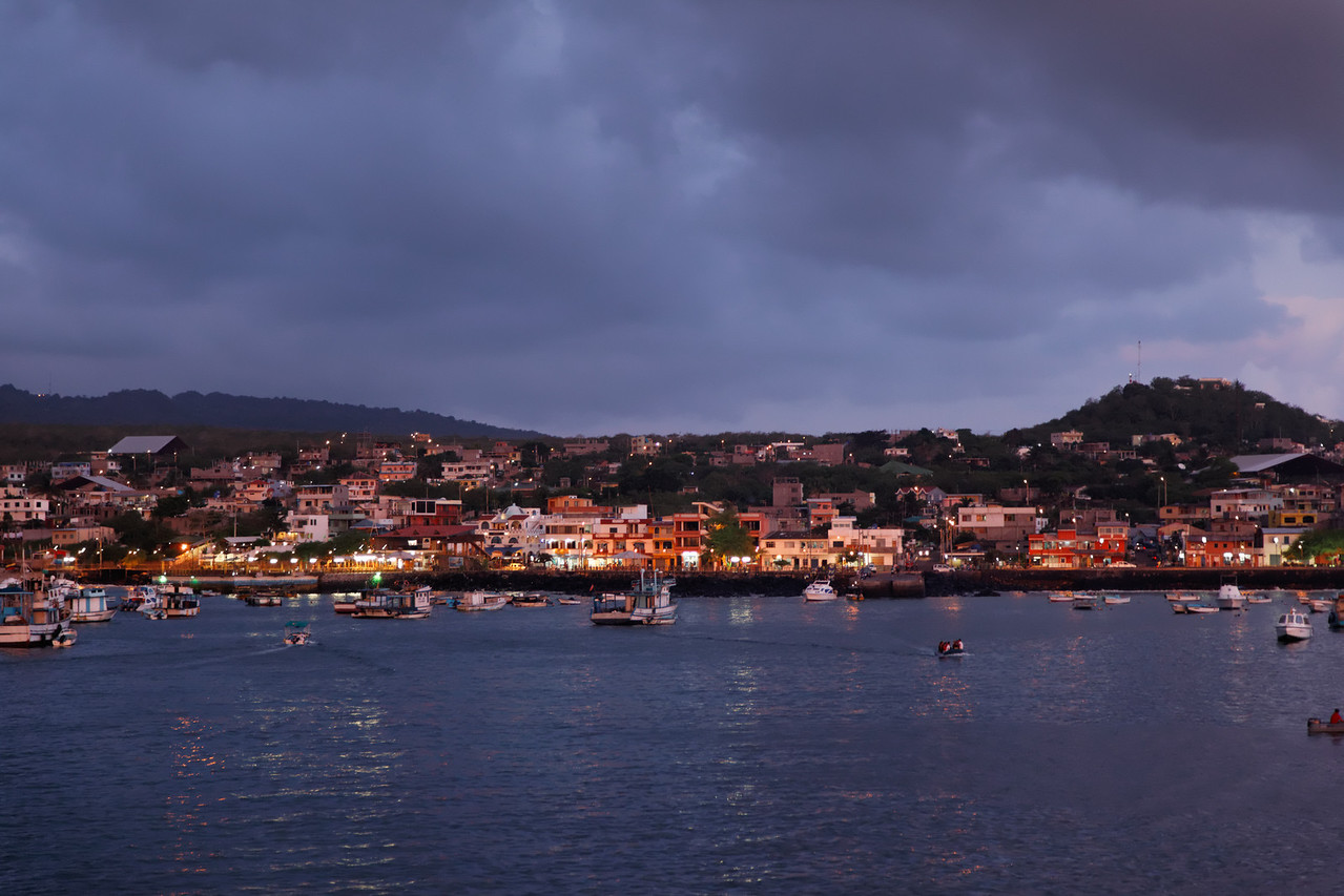 Dusk at San Cristobal from the boat